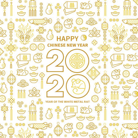 Line art vector square card, banner with Happy New Year 2020 text design in Chinese style. Pattern of Chinese elements, Rat zodiac sign, symbol of 2020 on the Chinese calendar for New Years design.