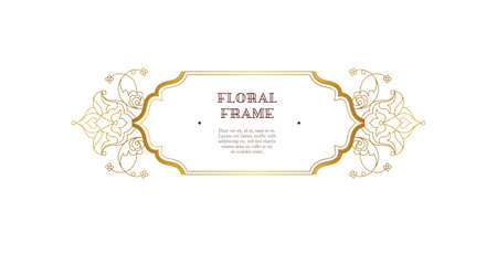 Vector gold lineart frame, vignette, border, monogram design template. Elements in Eastern style. Golden outline floral arabic ornament. Isolated line art ornaments.Gold monoline ornamental decoration