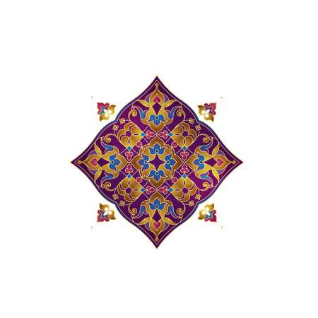 Vector vintage square pattern, gold mandala, yoga logo, ornate illustration, monogram design template. Element in Eastern style. Golden floral arabic ornament.Isolated arab ornaments. Ornamental decor