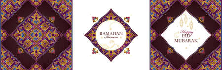Vintage set Ramadan Kareem cards. Holiday Eid Mubarak banner with calligraphy, arabic lamps, ornament for muslim celebration. Islamic decor in Eastern style. Muslim feast of the holy of Ramadan month.