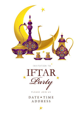 Vector card Iftar Party celebration, invitation. Arabic decoration, coffee mug, stars, crescent for Iftar invitation. Cards for Muslim feast of the holy of Ramadan month. Ramadan Kareem. Eastern style