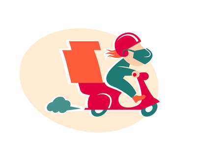 Pizza delivery man on red motorbike. Cartoon character in retro style. Coronavirus, covid 19 quarantine protected delivery. Courier with medical, protective, respiratory mask driving scooter, bike.
