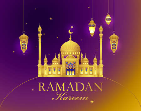 Vector Ramadan Kareem card. Vintage banner for Ramadan wishing. Gold arabic mosque, lanterns, stars. Decor in Eastern style. Islamic background. Card for Muslim feast of the Holy of Ramadan month.