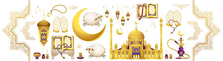 Vector set with arabic elements for Ramadan Greetings, Eid Al-Adha, Eid Mubarak cards. Arabic mosque, koran, crescent, Eastern lanterns for Kurban Bayraminiz. Islamic holidays. Easy to use, layred