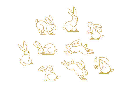 Vector set with line art rabbit. Icons, symbols,  design elements, illustration of stylized cute bunny. Be used for Easter cards, Mid Autumn Festival greetings. Isolated. Flat design style. Ilustração