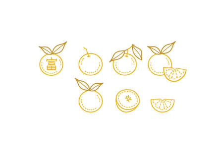 Vector set with line art orange, whole and cut. Chinese symbol of Wealth. Hieroglyph Wealth. Icon, symbol, design elements, illustration of stylized oranges. Isolated. Flat design style.