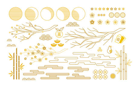 Vector set with elements, Chinese icons and traditional symbols for decoration cards, web design, banners for Chinese New Year, Happy Mid Autumn Festival. Isolated. Gold colored, flat design style. Ilustração