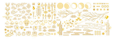 Vector set with elements, illustration of Ox Zodiac sign; Symbol of 2021 on Chinese calendar. Chinese icons and traditional symbols for decoration cards, web design, banners for Chinese New Year. Isolated. Gold colored, flat design style.