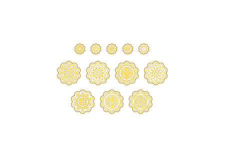 Vector set with line art moon cakes. Icons, symbols, logo design elements, illustration of stylized cute mooncakes. Be used as symbol for Mid Autumn Festival greetings. Isolated. Flat design style.