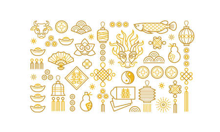 Vector icon set; banner; poster; card with chinese illustration of Ox Zodiac sign; Symbol of 2021 on the Chinese calendar; isolated. White Metal Ox; Bull; Chine pattern. Elements for New Year's Chinese design. Ilustração