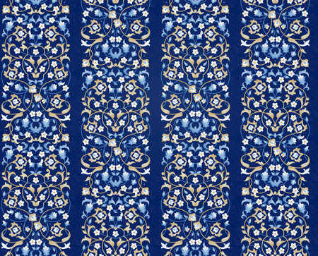 Vector seamless pattern with bright floral ornament. Vintage design element in Eastern style. Ornamental lace tracery. Ornate floral decor for wallpaper. Traditional arabic decor on blue background. Ilustração