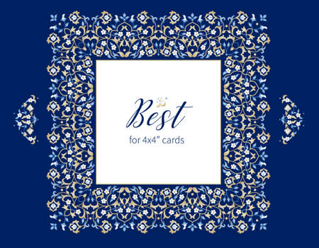 Vector blue frame, vignette, border, card design template. Elements in Eastern style. Floral borders, premade card. Arabic ornament. Isolated ornaments. Ornamental decor for invitations, cards, certificates