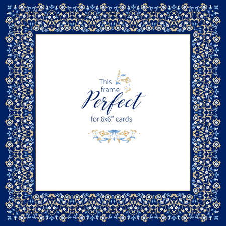 Vector blue frame, vignette, border, card design template. Elements in Eastern style. Floral borders, premade card. Arabic ornament. Isolated ornaments. Ornamental decoration for invitations, cards, certificates