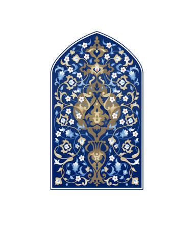 Floral illustration with place for text. Tree of life. Vector ornate pattern in Eastern style. Vintage ornamental element for design. Traditional arabic decor. Oriental blue ornament for greeting cards. 向量圖像