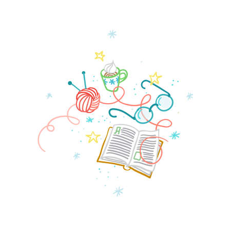 Vector clip art. Open book, ball of wool, knitting needles, cup of coffee, glasses. Hand draw cozy illustration with cosiness things. Top view of cozy workplace, accessories. Hygge style, Hygge home