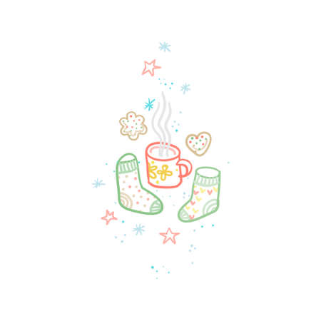 Vector clipart cup, cookies, knitted socks, mug of coffee, stars, snowflakes. Hand draw cozy illustration with cosiness things. Top view of cozy elements, accessories. Hygge style, Hygge home.