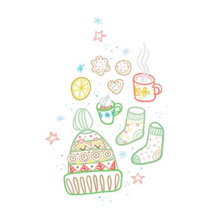Vector clipart cup, cookies, knitted hat, socks, mug of tea, lemon, stars, snowflakes. Hand draw cozy illustration with cosiness things. Top view of cozy elements, accessories. Hygge style, Hygge home