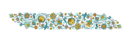 Vector element, arabesque for design template. Luxury ornament in Eastern style. Turquoise floral illustration. Ornamental decor for invitation, greeting card, wallpaper, ornaments background.