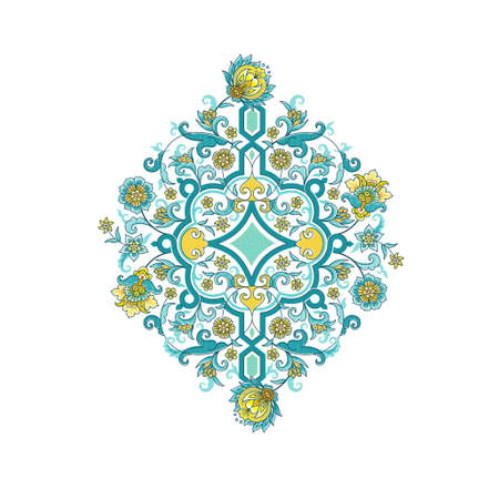 Vector element, arabesque for design template. Luxury ornament in Eastern style. Turquoise floral illustration.