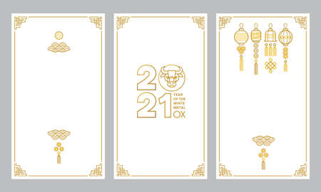 Vector set with cards, social media templates with a illustration of the Ox Zodiac sign, Symbol of 2021 on the Chinese calendar. White Metal Ox, Bull, Chine pattern. Place for text. Chinese backdrop