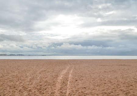 Clean sand beach by the ocean