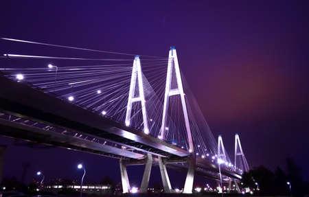 Night bright bridge in Saint Petersburg, Russia Фото со стока