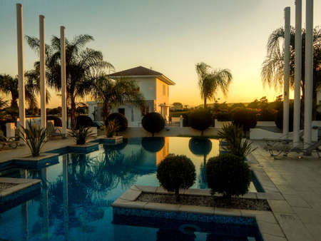 Sunset near the pool