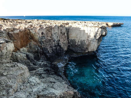 beautiful landscape of meditarean sea cave near Cave Greco, Cyprus