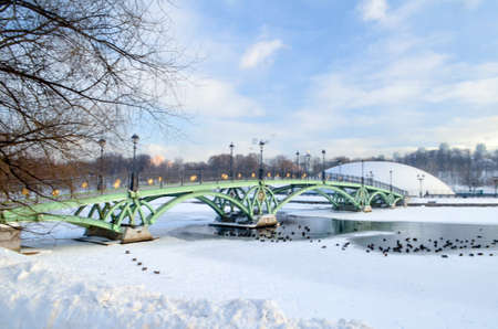 Winter landscape with green bridge in park