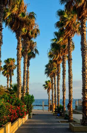 view to the coastline and promenade alley, mediterranean sea coast.