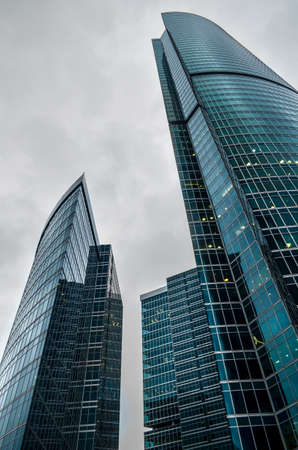 Low view angle on modern skyscrapers made of glass
