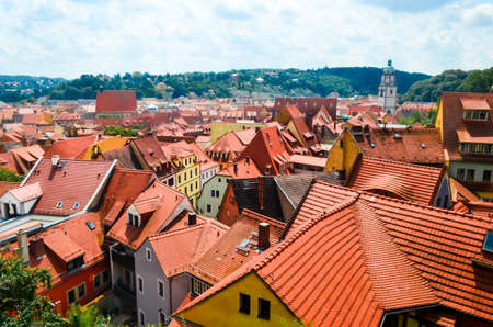 Panorama of the town with red roof buildings