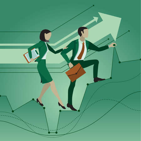 Office workers. Two employees help each other making their way to the goal, overcoming obstacles. Mutual assistance. Business concept.