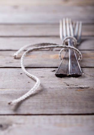 roped: Vintage spoon and forks roped on a wooden background