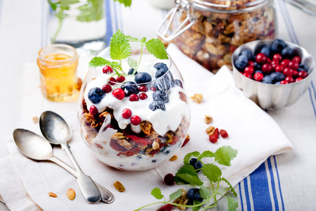 Healthy breakfast. Granola with  berries, honey, yogurt and fresh berries in a glass