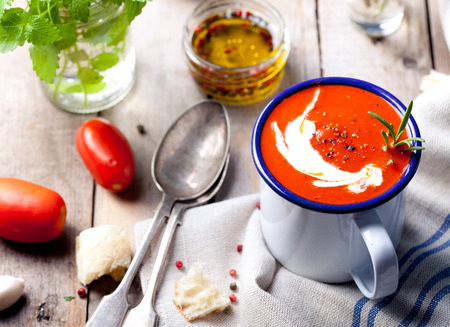 pimenton: Tomato, red pepper soup, sauce with olive oil, rosemary and smoked paprika Foto de archivo