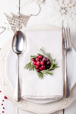 Kerst en Nieuwjaars vakantielijst instellen met cranberry en rozemarijn decoratie. Vakantie decoratie.