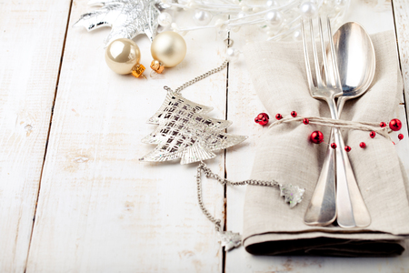 gold table cloth: Christmas and New year table place setting with christmas decorations. Copy space.
