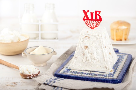 paskha: Paskha and kulich, Traditional Russian Orthodox Easter Desserts, Rustic Style, copy space for your text