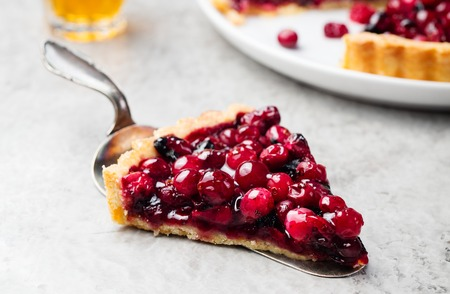 Tart, pie, cake with jellied fresh cranberries, bilberries and winter spices on a grey stone background. Copy space 스톡 콘텐츠