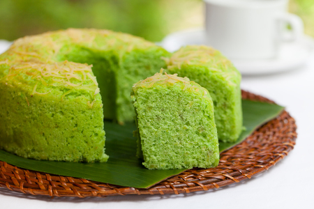 Pandan chiffon cake Traditional Indonesian desert Stone background Top view