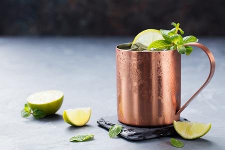 Cold Moscow Mule cocktail met ginger bier, wodka, kalk grijze stenen achtergrond. Kopieer de ruimte