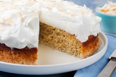 tres: Three milk cake, tres leches cake with coconut. Traditional dessert of Latin America