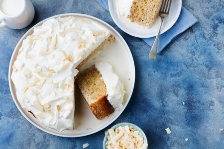 tres: Three milk cake, tres leches cake with coconut. Traditional dessert of Latin America Top view Copy space