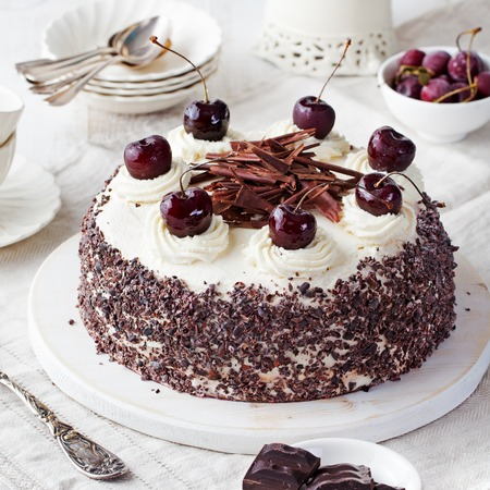 Black forest cake, Schwarzwald pie, dark chocolate and cherry dessert on a white wooden background 스톡 콘텐츠