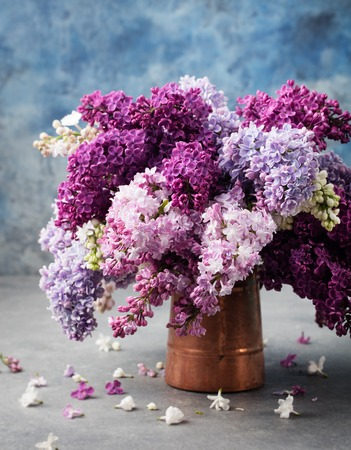 cooper: Bunch of lilac flowers in a cooper vintage jug. Blue background Copy space.