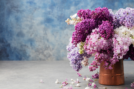 kinfolk: Bunch of lilac flowers in a cooper vintage jug. Blue background Copy space.