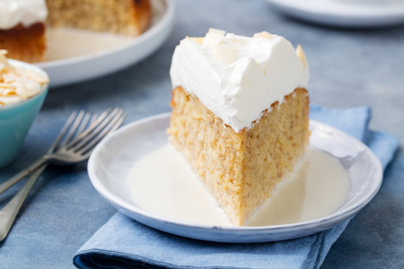 tres: Three milk cake, tres leches cake with coconut. Traditional dessert of Latin America.
