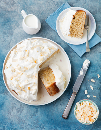 tres: Three milk cake, tres leches cake with coconut. Traditional dessert of Latin America Top view Copy space.