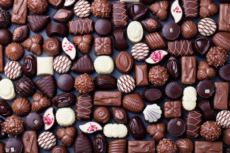 Assortment of fine chocolate candies. Top view